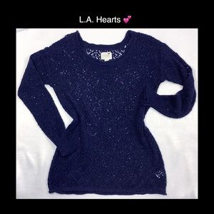 L.A. Hearts 💕 Small Blue Open Knit Sweater